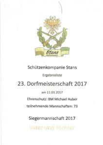 Dorfmeisterschaft Ergebnisliste 2017